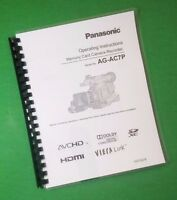Laser Printed Panasonic Ag-ac7p Video Manual User Guide 116 Pages