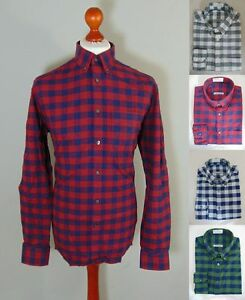 M-amp-S-Oxford-Gingham-Red-Grey-Check-Slim-Fit-Long-Sleeve-Mens-Brushed-Cotton-Shirt