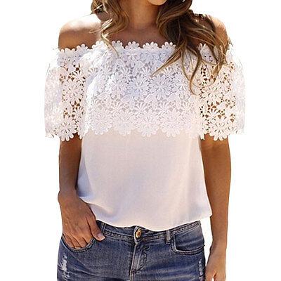 Fashion Women Shoulder Casual Tops Blouse Lace Crochet Chiffon Shirt