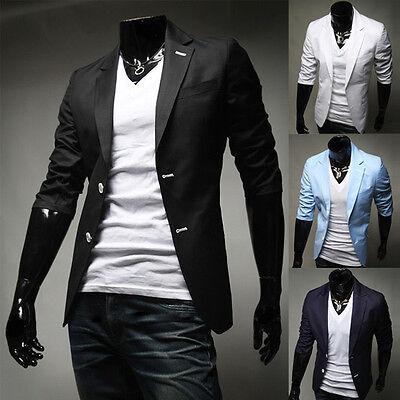 Fashion Stylish Men's Casual Slim Fit Two Button Suit Blazer Coat Jacket Tops
