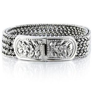 925-Solid-Sterling-Silver-Men-039-s-Woven-Bracelet-Heavy-Wide-Size-Length-7-5-to-10
