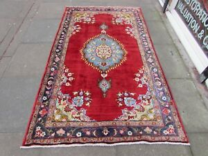 Vintage-Traditional-Rug-Hand-Made-Oriental-Red-Blue-Wool-Large-Rug-227x136cm