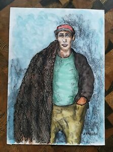 Senabre-drawing-joint-technical-paint-on-paper-portrait-of-a-fisherman