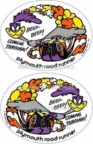 Plymouth Road Runner Coming Through Pair Vinyl Decal