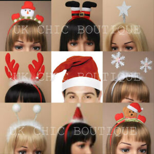 CHRISTMAS HEADBAND HATS SANTA SNOWFLAKE REINDEER ANTLERS FANCY DRESS XMAS ADULT