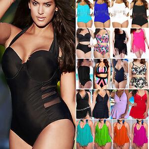 0cd78bb188 Women Plus Size Tassel High Waist Bikini Monokini Swimwear Bathing ...