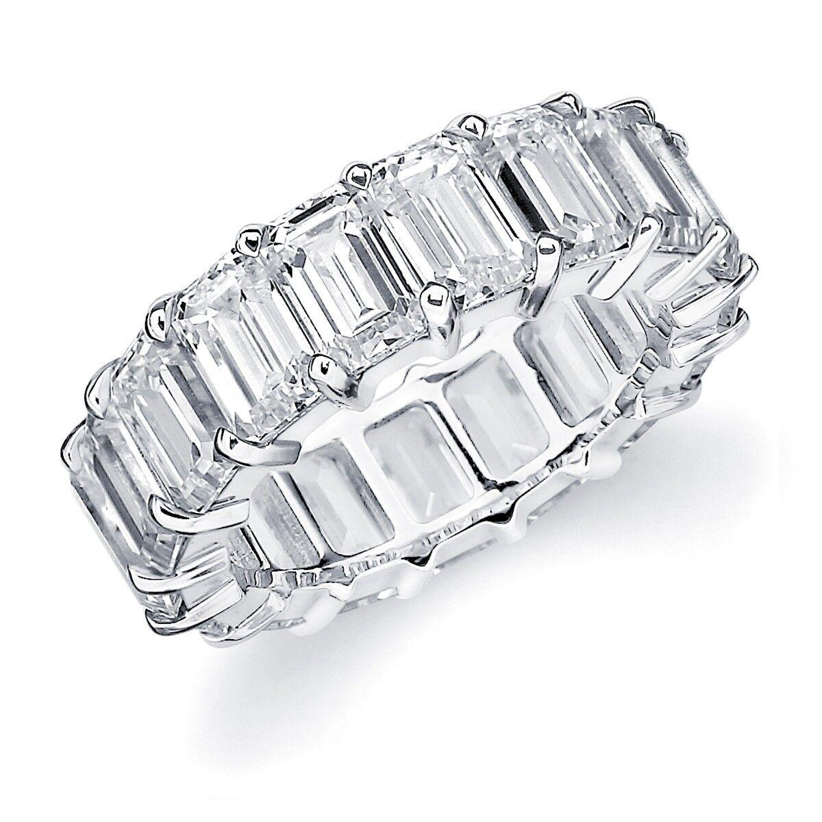 Stile Classico Taglio Taglio Taglio a Smeraldo Platino Anello Eternity con Diamante 7.25 25d27a