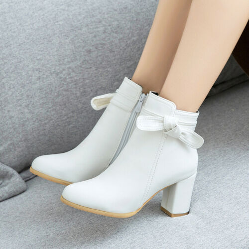 Plus Size 34-52 Womens Block Heel Bowknot Decor Ankle Boots Outdoor Casual Pumps