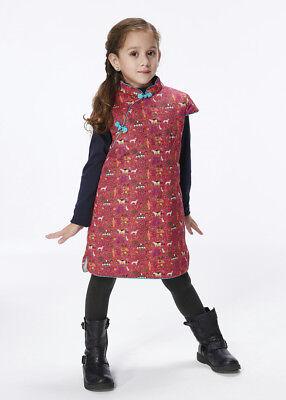 Handmade Girls Cotton Dress Overcoat Chinese Cheongsam Qipao Kids Clothing #201