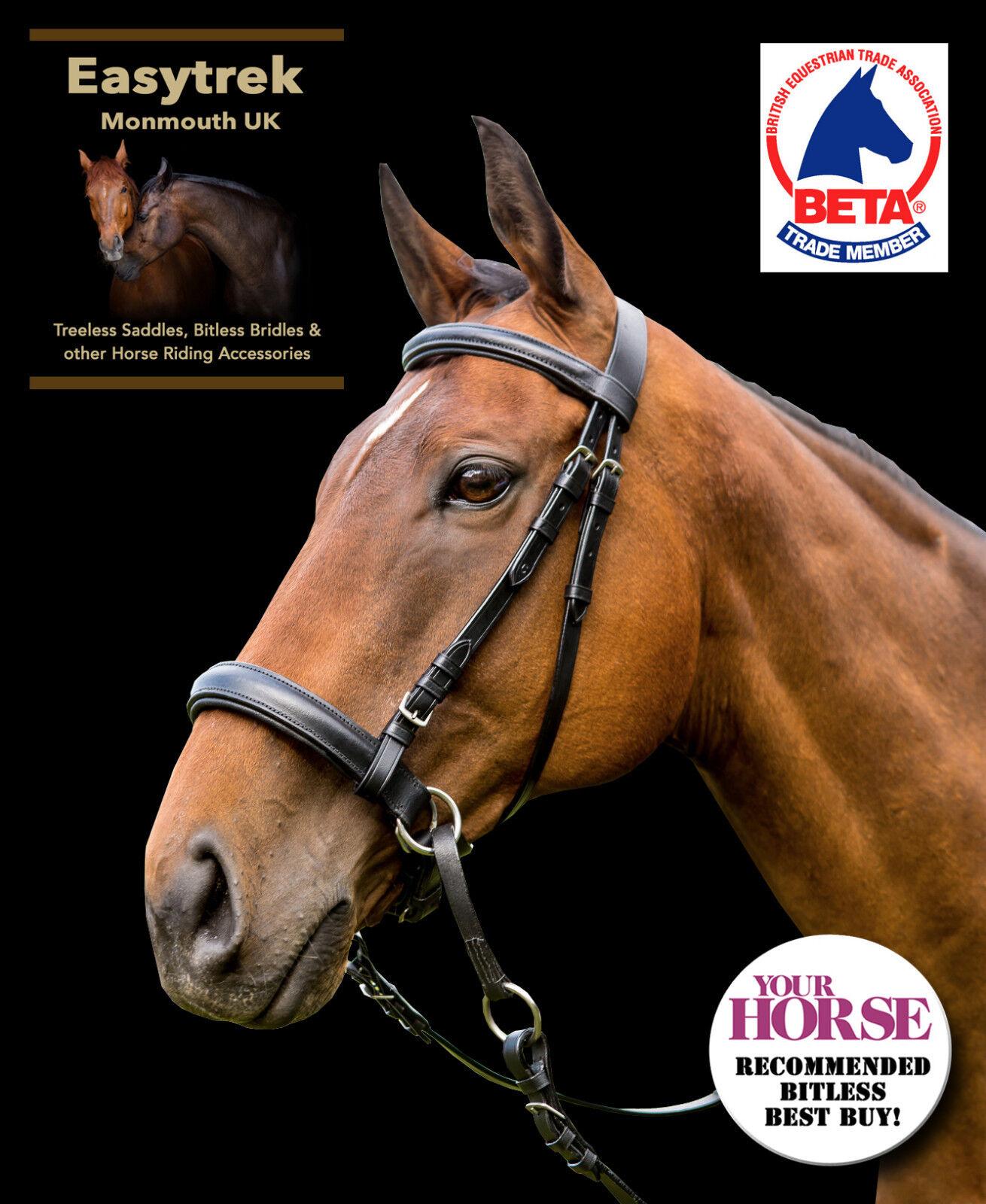 Nero Taglia Pony EasyTrek Premium in Pelle Bitless Briglia & Pinza rossoini