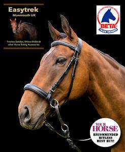 Nero Taglia Pony EasyTrek Premium in Pelle Bitless Briglia /& Pinza redini