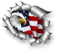 CLASSIC Ripped Open Torn Metal Rip & American Eagle with US USA Flag car sticker