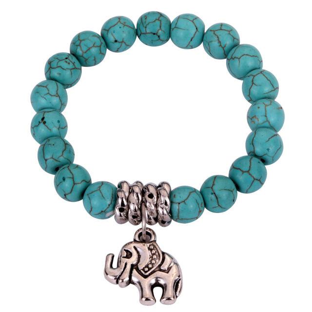 Cute Tibetan Silver Elephant Dangle Bangle Turquoise Beads String Bracelets