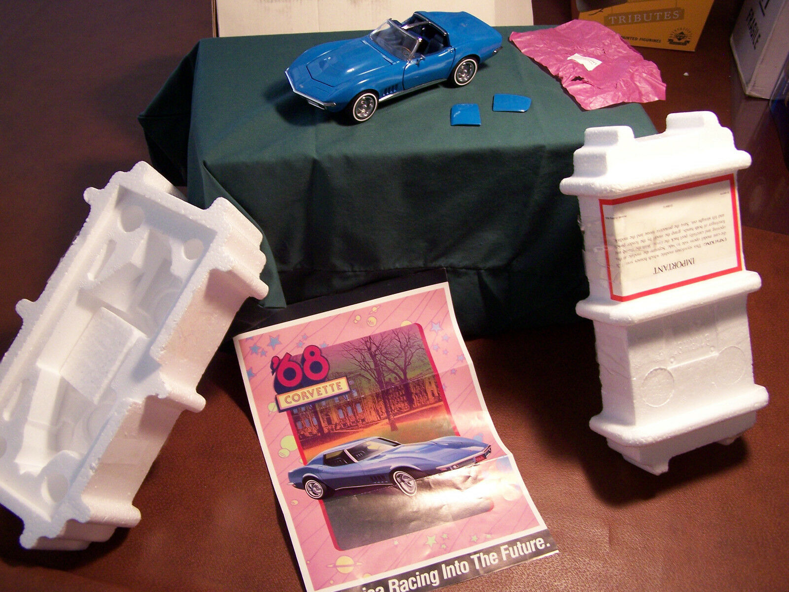 Franklin mint zertifizierten 1968er blauer chevrolet corvette b11rh87 mint in der box