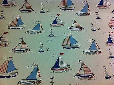 FRYETT`S  Cotton MARITIME Blue Fabric for Curtain//Upholstery,Crafts,Quilting