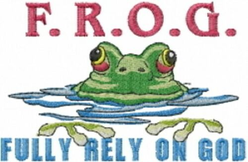 FULLY RELY ON GOD FROG  SET OF 2 BATH HAND TOWELS EMBROIDERED BY LAURA