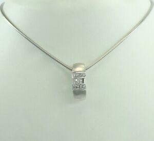 Damen-Kette-mit-Anhaenger-mit-Diamanten-0-20-ct-Weissgold-585er-14-Karat-45-cm