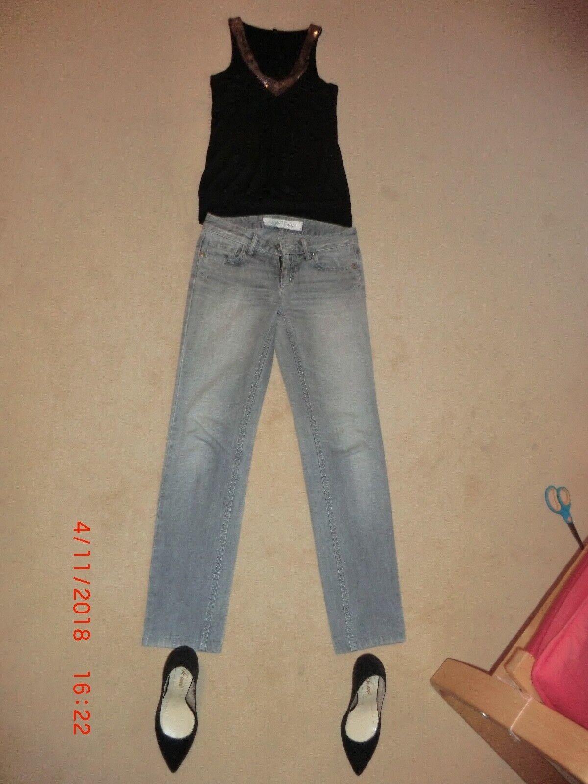 Set aus Top mit Glitzereinsatz von Amisu,Jeans W27 L34 von Take Two,Pumps 35