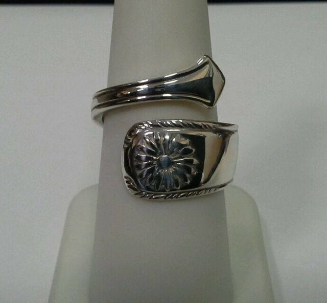 Sterling Silver Floral Spoon Ring Size 7.5 To 8