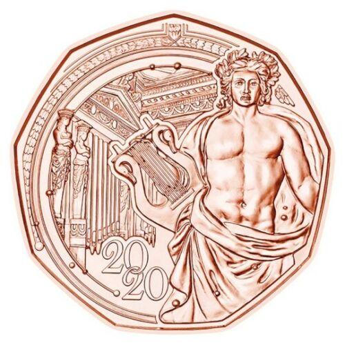 2020 Austria 5 Euro Copper UNC Coin Vienna Music Society 150 Years Musikverein