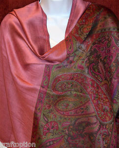 Paisley-double-side-Pashmina-Silk-blend-Shawl-Stole-Wrap-in-pink-from-India