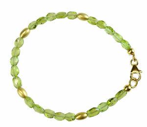 PERIDOT-Armband-925-Silber-vergoldet-Armkette-Z100
