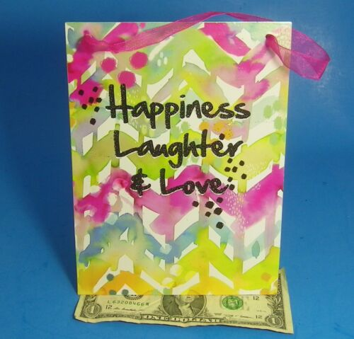 """Metal Home Decor Hanging Sign Happiness Laughter /& Love Pastel Watercolor 6 X 8/"""""""