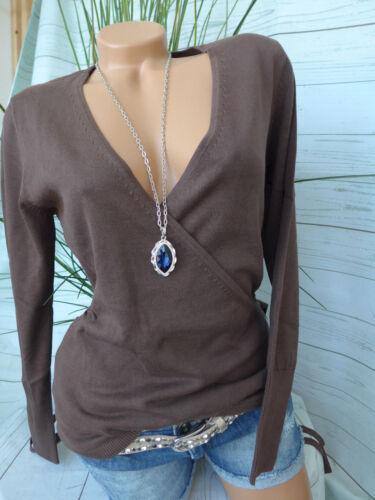 Heine B.C.Knitted Jumper Pullover Size 36-48 Crossed V Neck 788 Brown