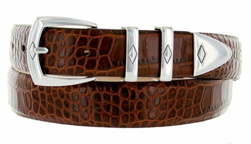 """Hagora Men 1-1//8/"""" Wide Genuine Italian Leather Silvered Buckle Eclectic Belts"""