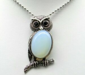 Natural-Opal-eye-Gem-beads-animal-Owl-Retro-Silver-Pendant-necklace-Jewelry-P1