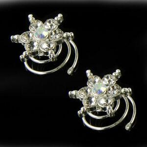 Diamante star hair coils springs twists sparkly rhinestone bridal prom party