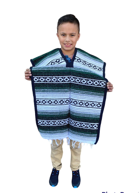 MEXICAN KIDS PONCHO , FALSA , COSTUME ,BLANKET SERAPE GABAN ,KIDS 8 - 12 ,GREEN