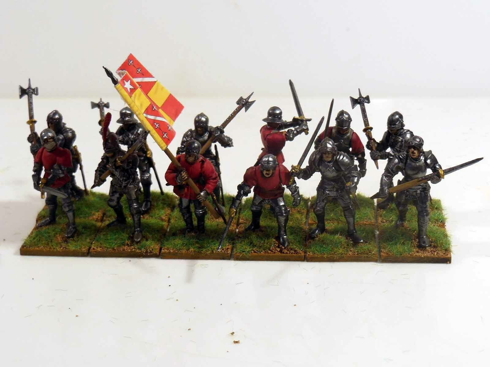 28mm War Of The pinks Men At Arms - 12 Figures - Painted & Based