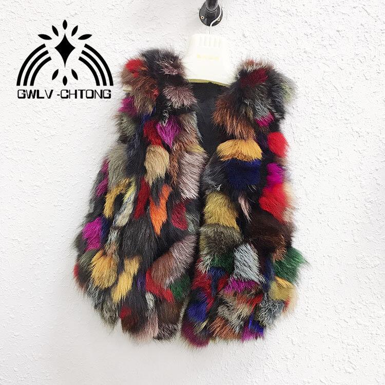 Verklig naturlig äkta rävpäls kvinnor mode färgstjärnaka gyltor