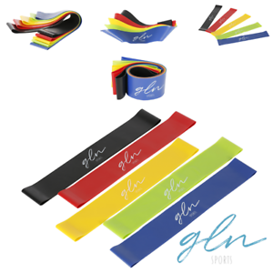 Set-of-5-Size-Color-Resistance-Band-Loop-Exercise-Yoga-w-Carry-Bag-Gln-Sports