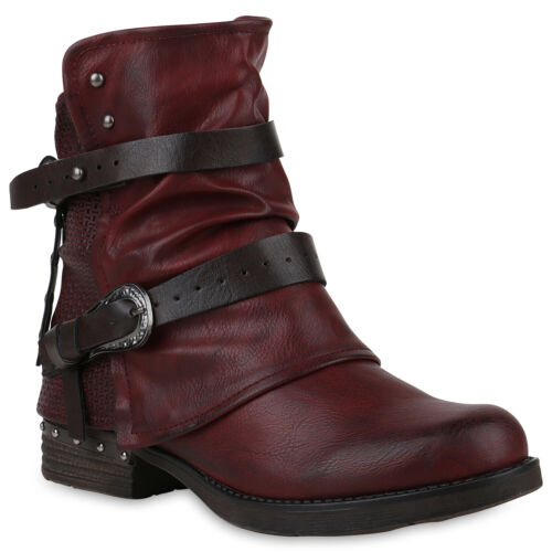 Damen Biker Boots Stiefeletten Nieten Schuhe 895751 Trendy Neu