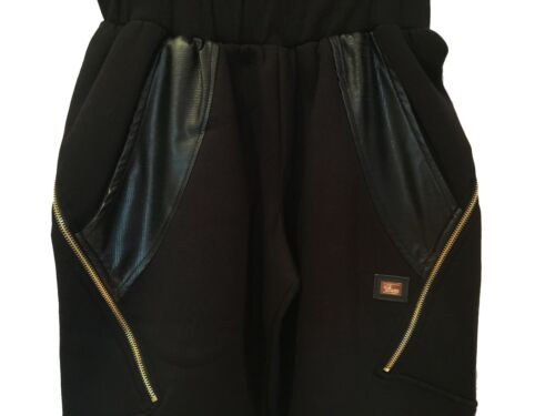 """unisex Time is Money g joggers /""""zip-star/"""" PU leather hip hop tracksuit bottoms"""