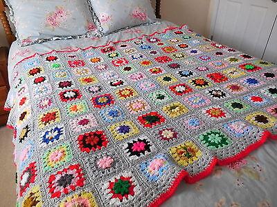 SALE! Crochet GRANNY SQUARE Gray THROW Bedspread BLANKET 52x72 Farmhouse Chic