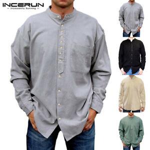 Incerun-hombres-Lino-Camisa-de-manga-larga-escote-en-V-causal-Blusa-Prendas-para-el-torso-Sin-cuello