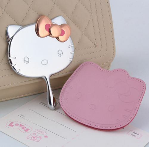 NEW Top Quality Silver Hello Kitty Handheld Make Up Mirror Rose gold bowknot