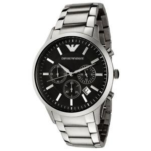 NEW-EMPORIO-ARMANI-AR2434-Classic-Chronograph-Black-Dial-Steel-Men-039-s-Wrist-Watch