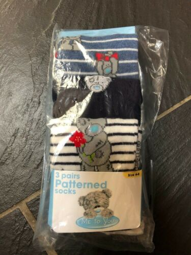 ME TO YOU BEAR 3 PAIRS PATTERNED SOCKS SIZE 4-8 NEW
