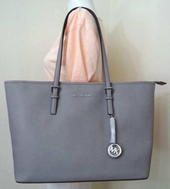 d8997016ac150 ... ebay michael michael kors jet set travel tz medium multifunction pearl  grey tote bag a4264 dd57e