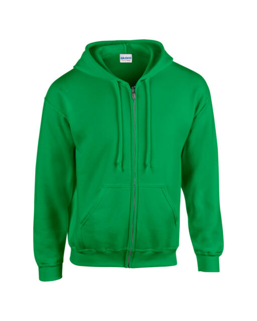 Large Gildan Mens Full Zip Hooded Sweatshirt Safety Green