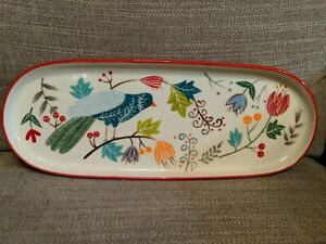 Potter-039-s-Studio-Ceramic-Oval-Serving-Tray-Bird-And-Flowers