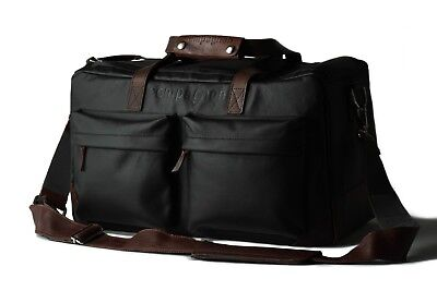 Compagnon Travel Bag The Weekender Black and Dark Brown Leather