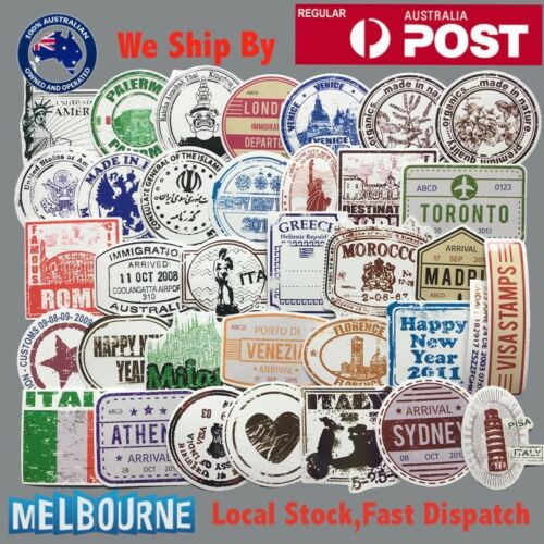 60 Pcs Premium Vintage Design Visa Stamps Passport Luggage Laptop Sticker Decals