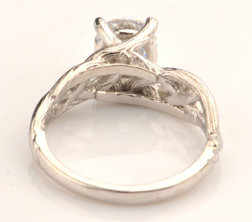 Real 14KT White Gold 2.25 Carat D-Color Round Shape Solitaire Engagement Ring