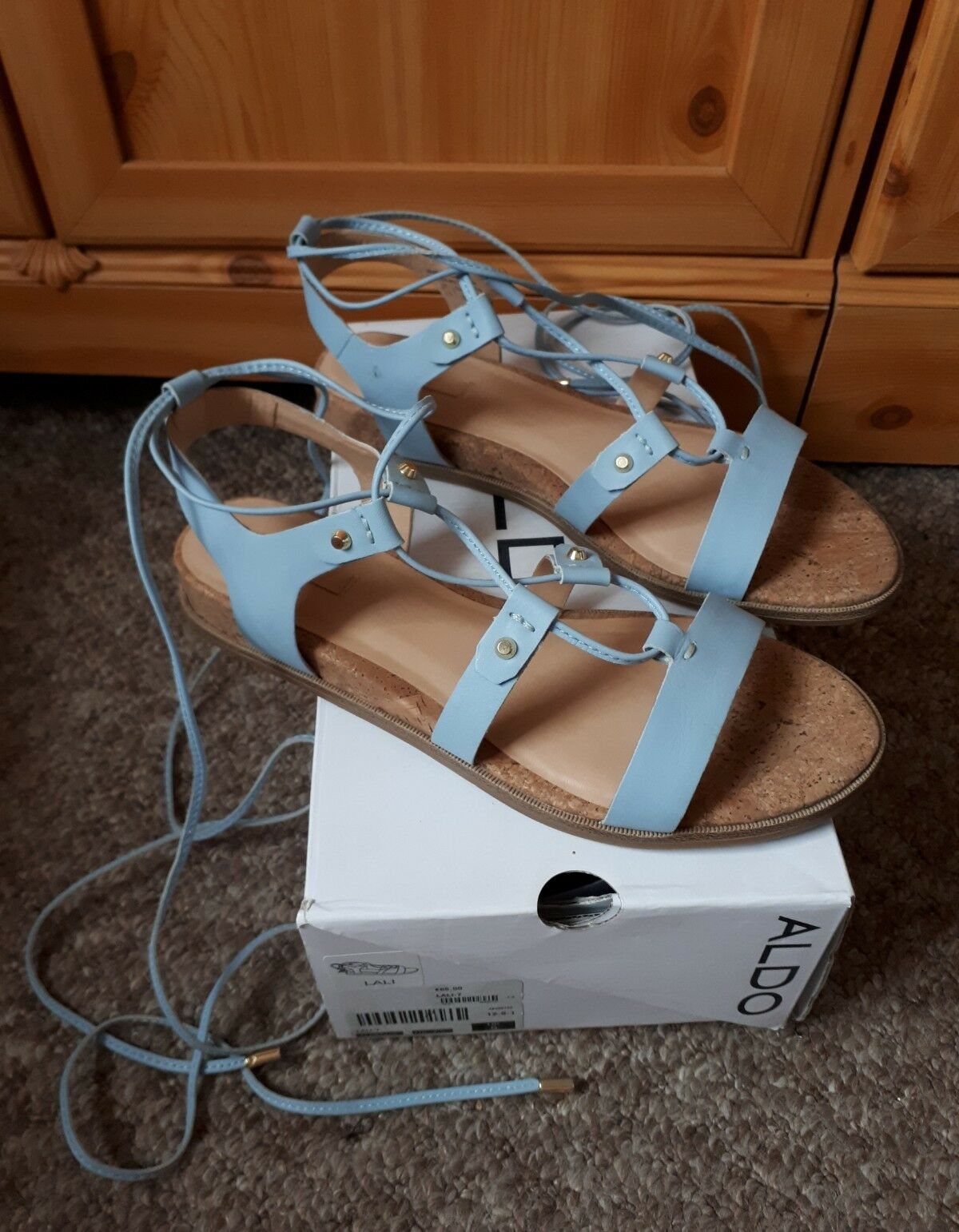 Aldo bleu Low Wedge Plateforme Lacets Neuf Sandales Chaussures Taille UK 5 EUR 38