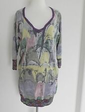 Custo Barcelona Tunic Dress Knit  3/4 Sleeve Size M Multicolored Rayon & Cotton